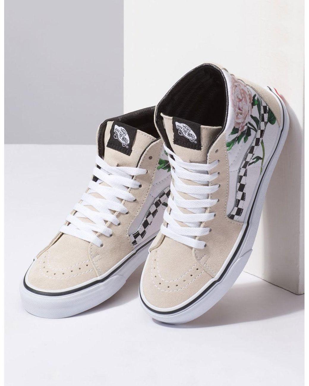 1dd82901d3a55e Lyst - Vans Sk8-hi Checker Floral Womens Shoes