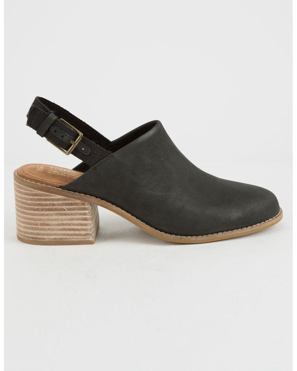 fd65e3ff5e9 Lyst - TOMS Leila Slingback Black Leather Womens Booties in Black - Save 47%