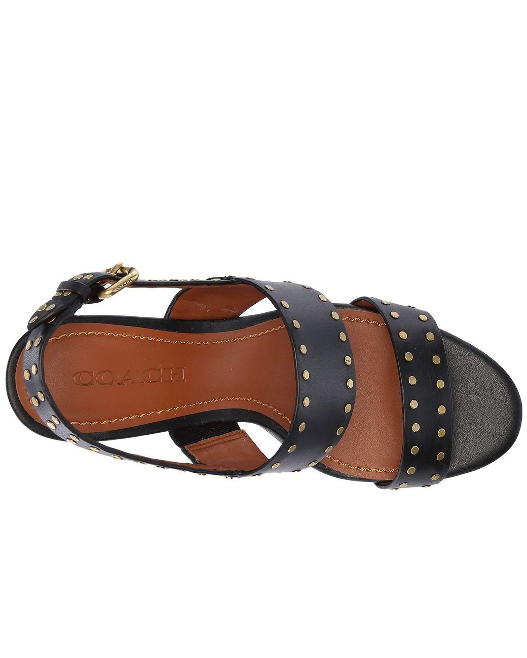 7bdc28de498 Lyst - COACH Rylie Heel Sandal (black Leather) Women s Sandals in Black -  Save 40%