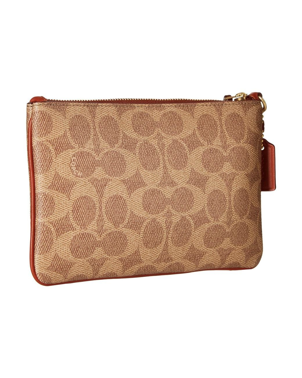 524c39766 COACH Color Block Coated Canvas Signature Small Wristlet in Brown - Lyst
