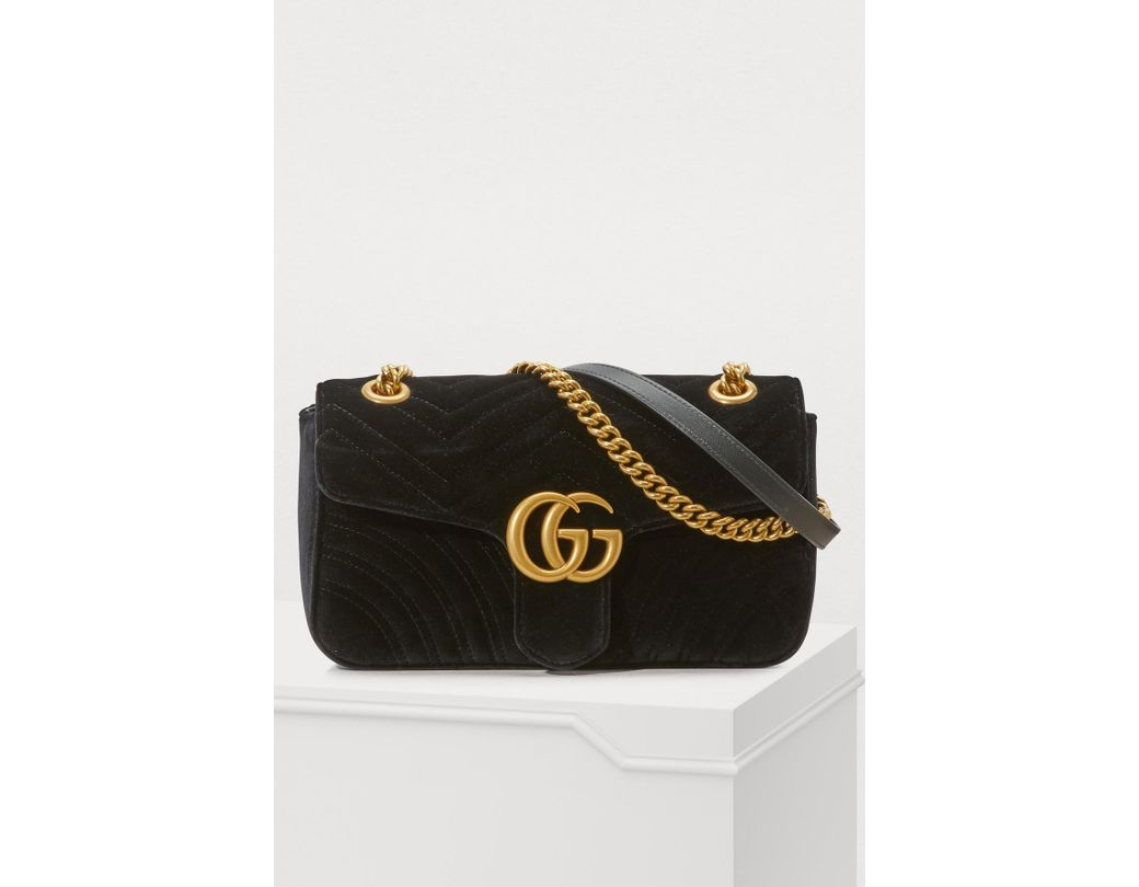 02eb6b1f5f4 Lyst - Gucci GG Marmont Velvet Shoulder Bag in Black