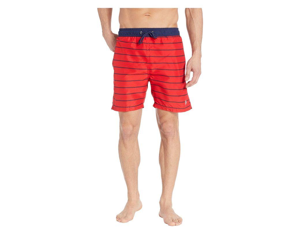 d2b844793589 Lyst - U.S. POLO ASSN. Pinstripe Swim Shorts in Red for Men