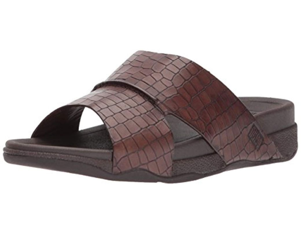 95e53abc47e0 Lyst - Fitflop Bando Leather Croc Slide Sandal in Brown for Men ...