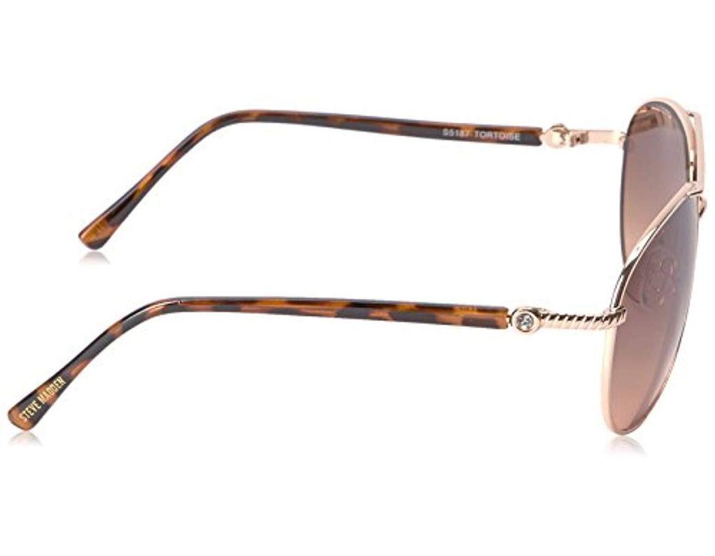 5db267496 Lyst - Steve Madden Elissa Aviator S5187 Aviator Sunglasses in Brown