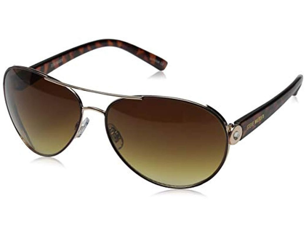 2137e53a4 Steve Madden. Women's Metallic Angelica S5643 Polarized Aviator Sunglasses