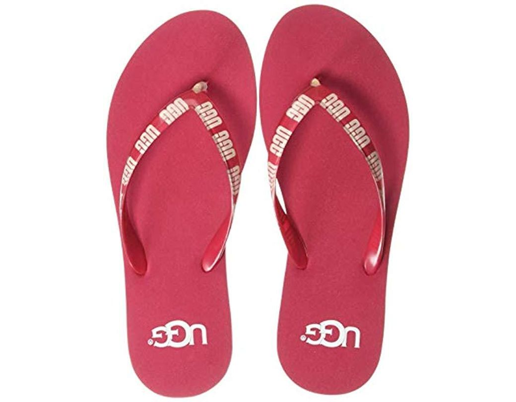 e6a800aa832e Lyst - UGG Simi Graphic Flip-flop in Red