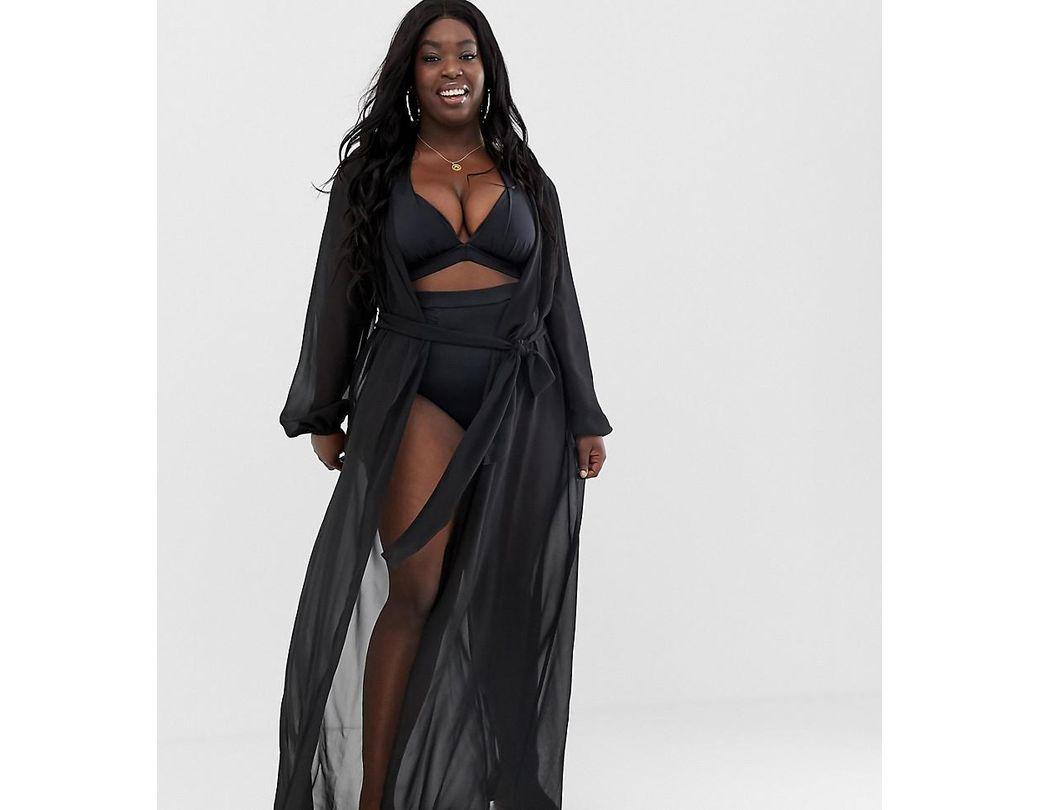 fe126d657f8 ASOS Asos Design Curve Recycled Long Sleeve Wrap Tie Chiffon Maxi Beach  Kimono In Black in Black - Lyst