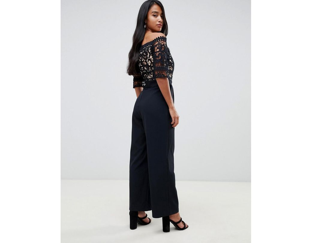 Little mistress lace applique top tailored jumpsuit in black in