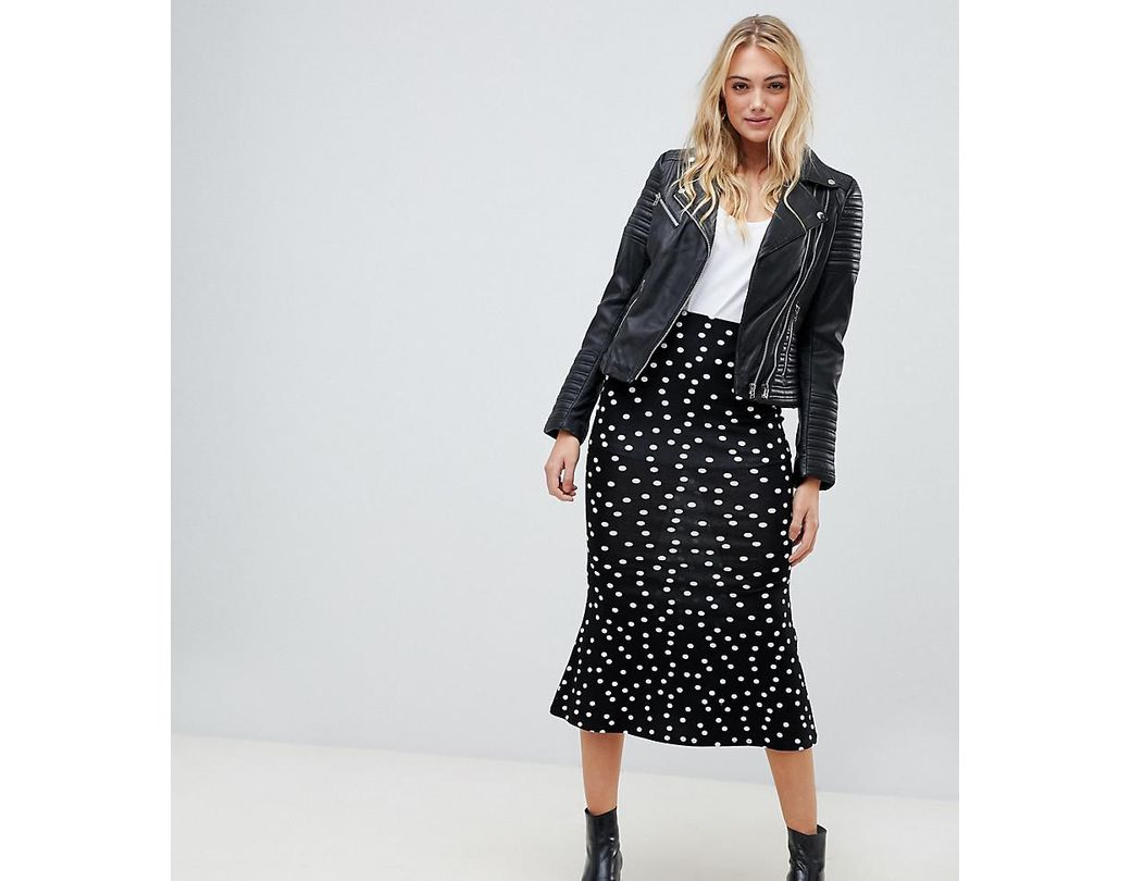 aebcab8dac61 Lyst - ASOS Asos Design Tall Midi Skirt With Kickflare In Polka Dot ...