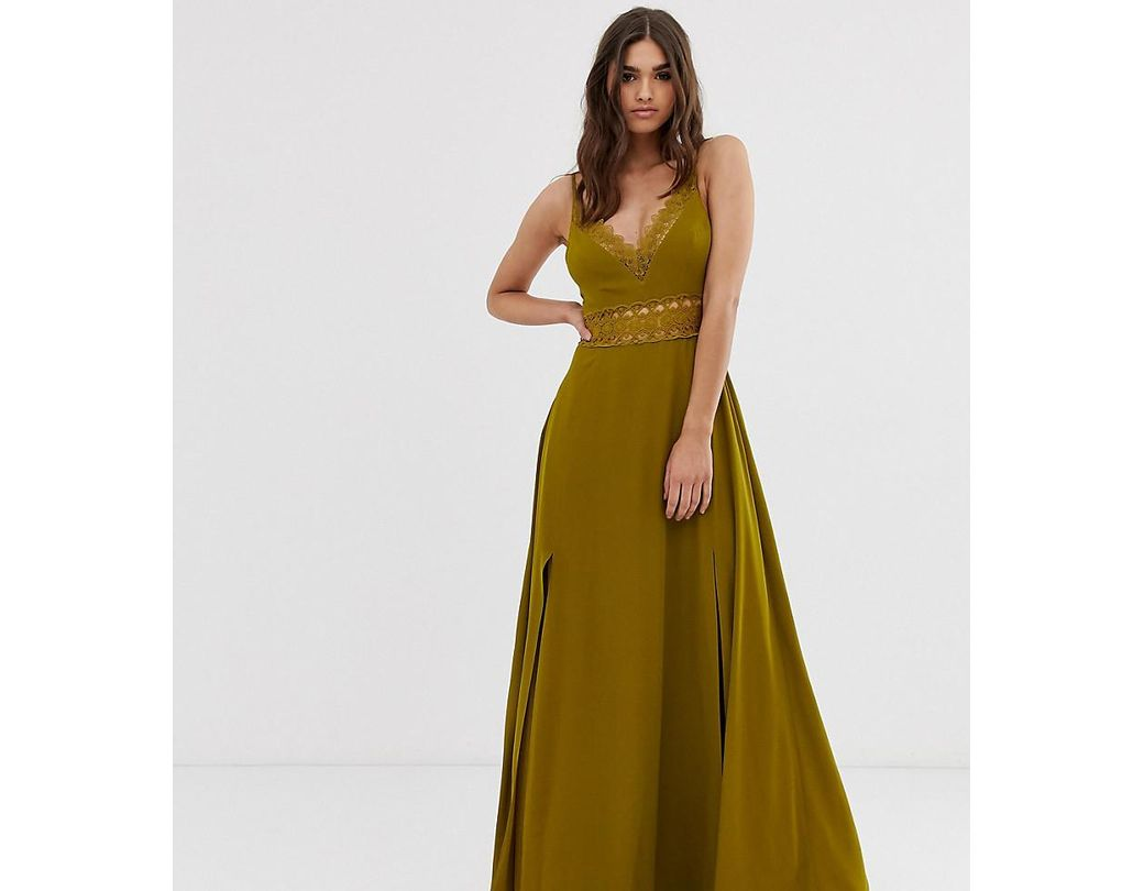 fcdceb645e30 Lyst - ASOS Maxi Dress With Guipure Lace Waist Trim in Green