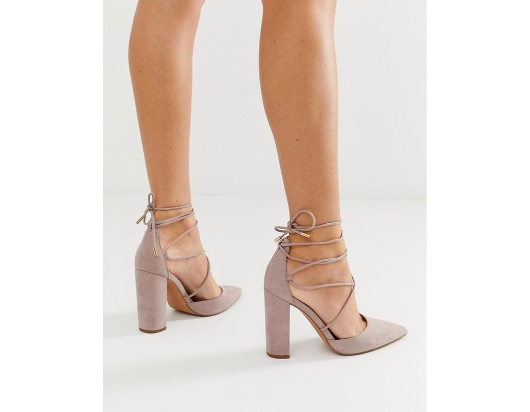 60b443cab6cfd ASOS Power Trip High Block Heels In Taupe in Gray - Lyst