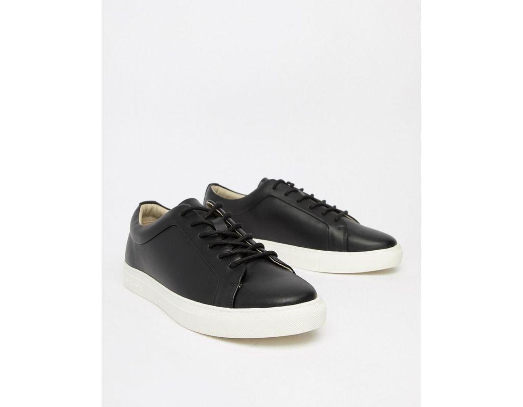 58b277c9efbcc4 Jack   Jones Premium Sneaker In Black With Contrast Sole in Black ...