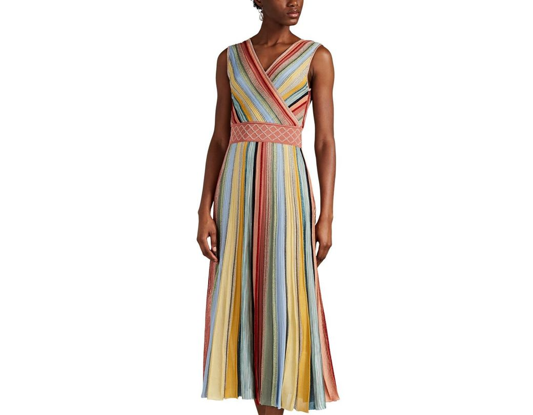 65bfd3c71e962 Lyst - Missoni Metallic Striped Rib-knit Midi-dress in Pink