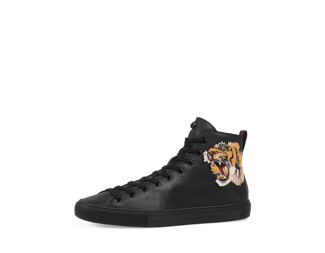 f67f3935bef15 Lyst - Gucci Men s Major High-top Sneakers W tiger Patch in Black ...