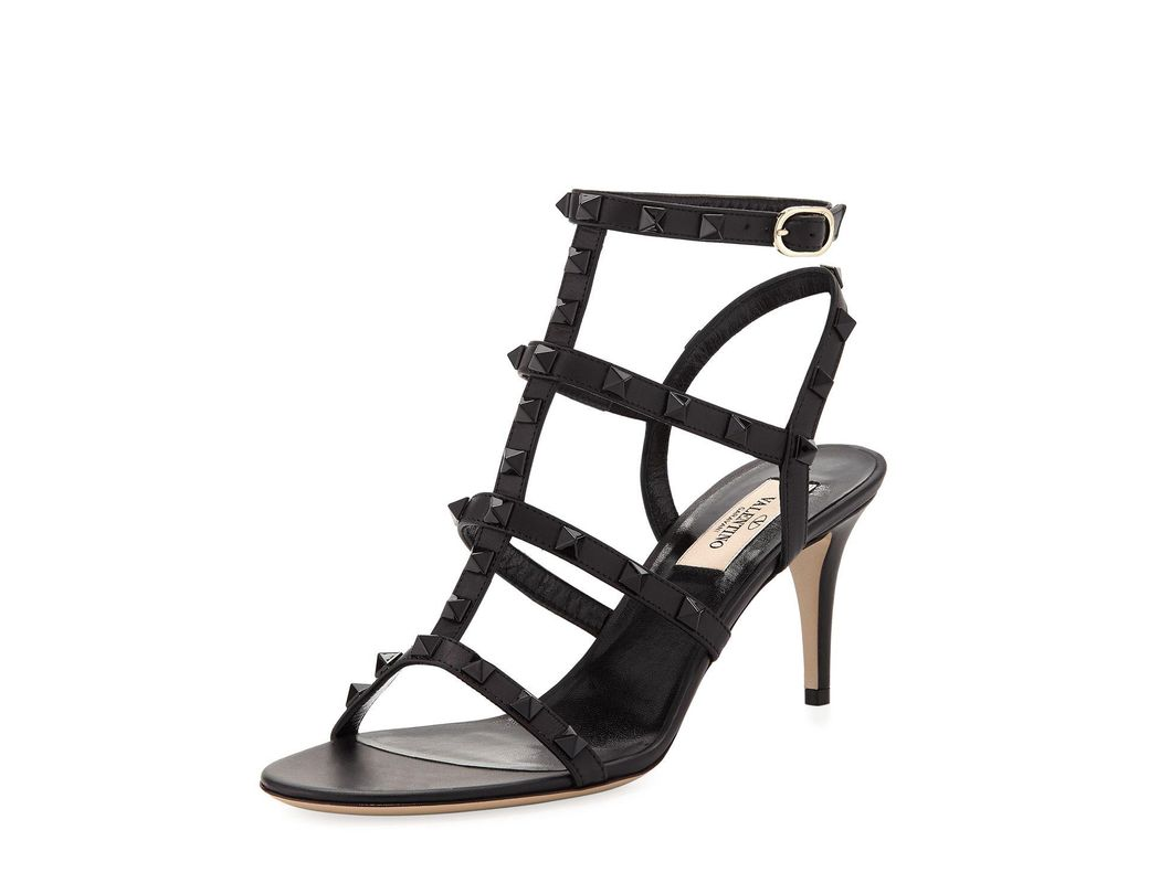 43f920c9fbad Lyst - Valentino Rockstud Strappy 70mm Sandals in Black