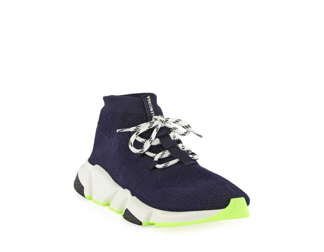 46b461b9e7dd Balenciaga. Men s Atlantic Blue Speed Fabric Sneakers.  770 From Bergdorf  Goodman