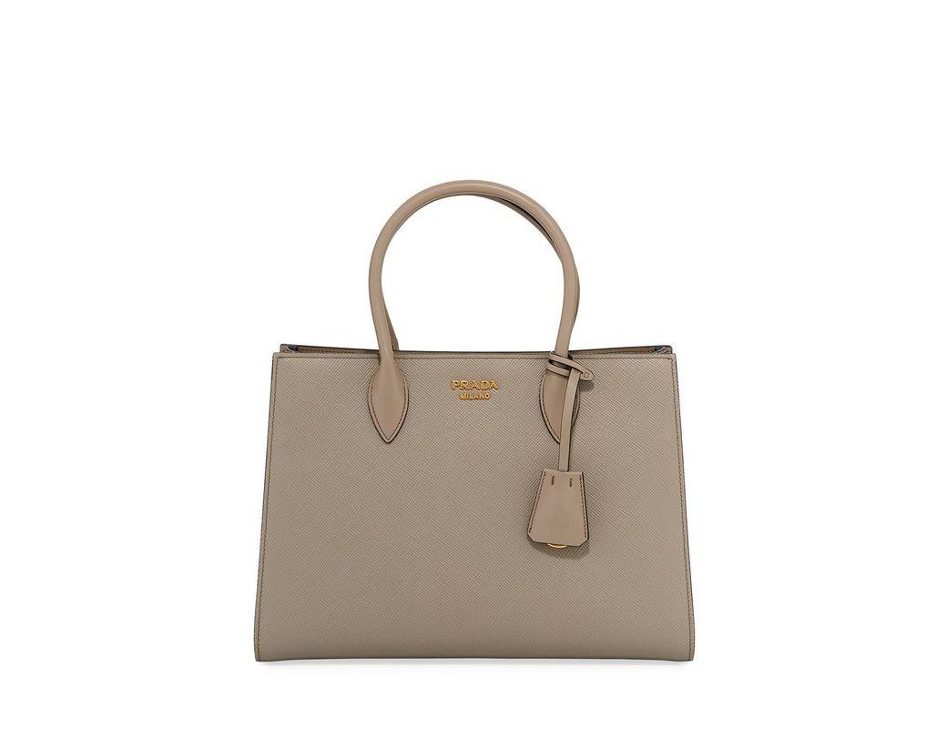a77ce72ea5a1 Lyst - Prada Large Bicolor Saffiano Side-pleat Tote Bag in Brown ...