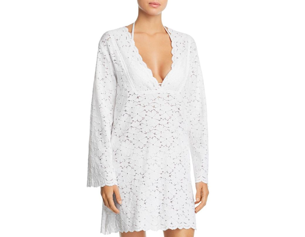6ea2d9e996 J Valdi Flower Child V-yoke Lace Tunic Swim Cover-up in White - Lyst
