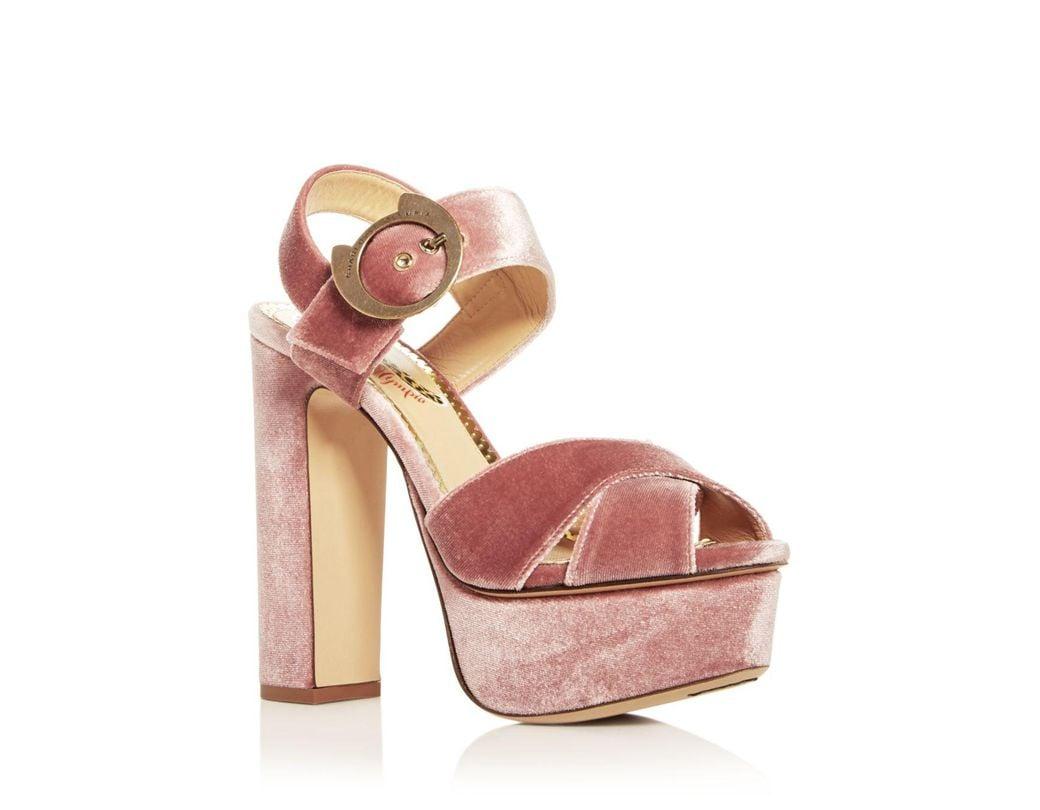 97ad9bd319b2 Charlotte Olympia. Pink Women s Catbuck Velvet High-heel Platform Sandals