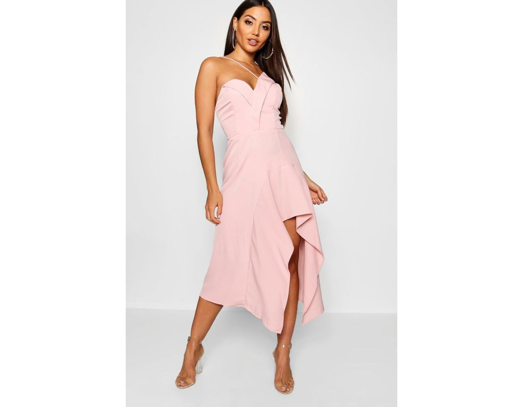 d15415602445 Long-Touch to Zoom. Long-Touch to Zoom. 1; 2. Boohoo - Pink Asymmetric  Ruffle Hem Midi Dress ...