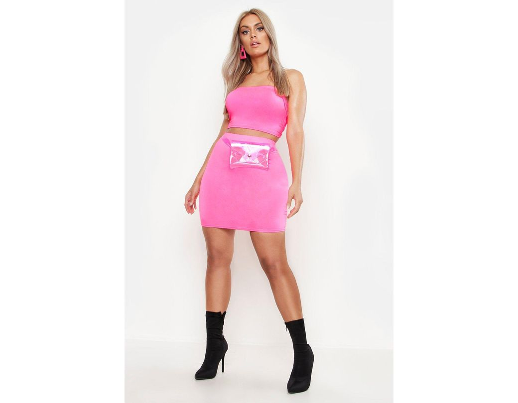 65e01b01ab2f Boohoo Plus Double Layer Slinky Neon Mini Skirt in Pink - Lyst