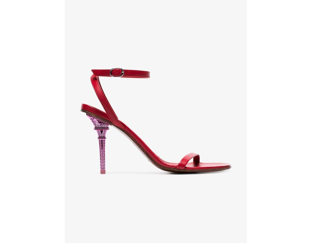 326a58fadd29 Lyst - Vetements Red Eiffel Tower 100 Leather Sandals in Red - Save 16%