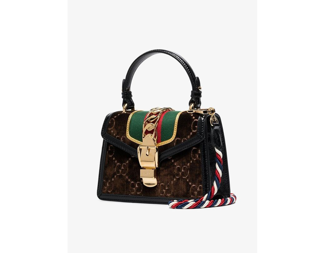 4cefc2d64 Gucci Brown Sylvie GG Velvet Mini Bag in Brown - Lyst