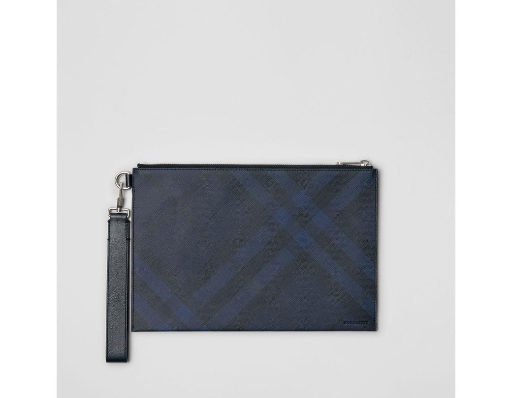 da4ca9aa3736 Burberry London Check Zip Pouch in Blue for Men - Lyst