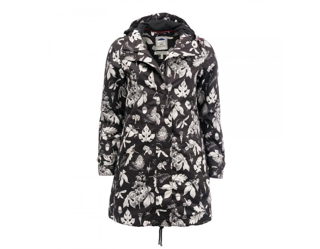 8742dfe8e Joules Raine Printed Mid Length Right As Rain Womens Coat (z) in ...