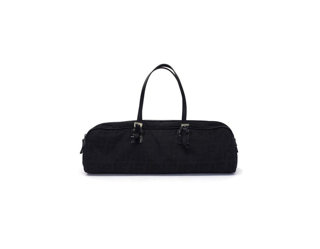 8cf76d0a3f31 Lyst - Fendi Black Vintage Zucca Canvas   Leather Oblong Handbag in ...