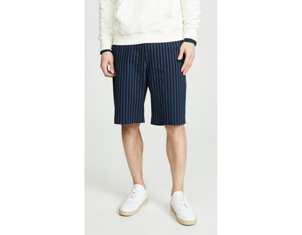 0c8cf40a3a8f7 Lyst - Maison Kitsuné Navy Striped Seersucker Stan Bermuda Shorts in ...