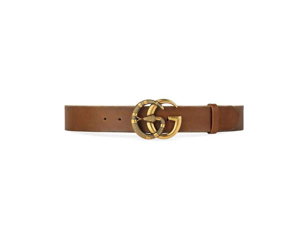 d153ff044a7 Lyst - Gucci Leather Belt With Double G Buckle With Snake in Brown for Men  - Save 9%