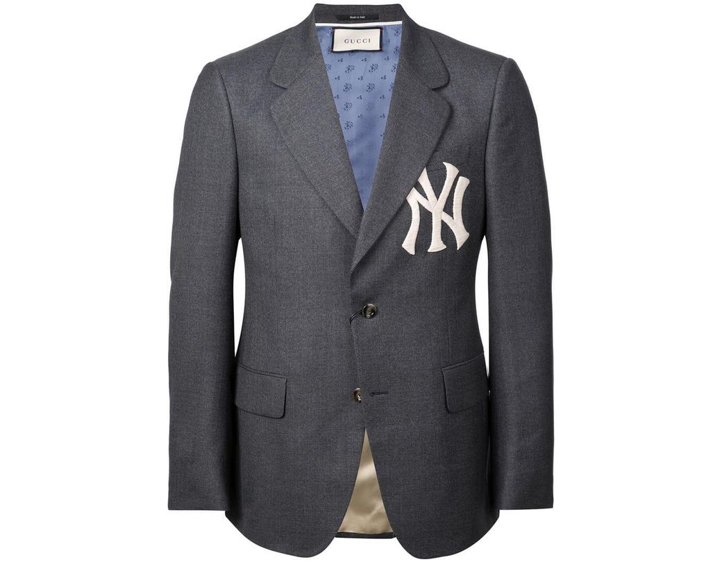 9dbe2ec73fd Lyst - Gucci Tailored Blazer With Ny Yankeestm Patch in Gray for Men