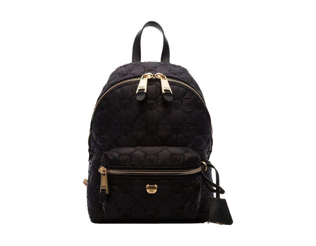07a2e4063b0 Lyst - Moschino Black Quilted Teddy Bear Motif Backpack in Black