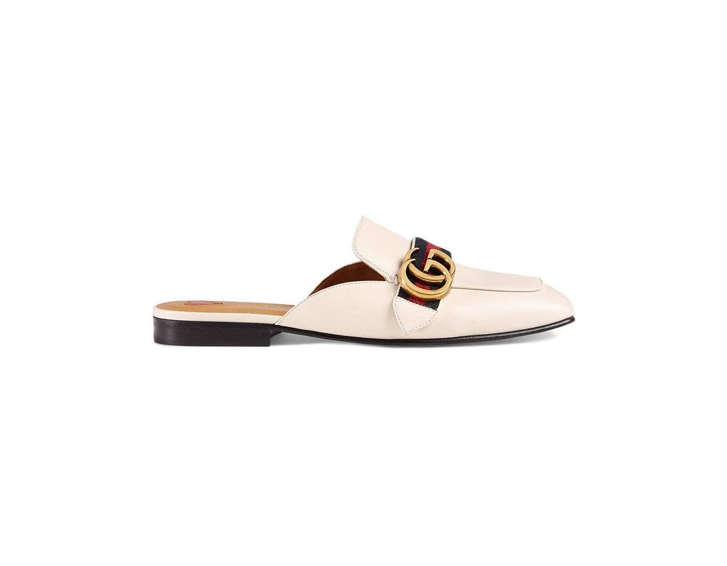 7c6064009 Gucci Leather Slipper in White - Lyst