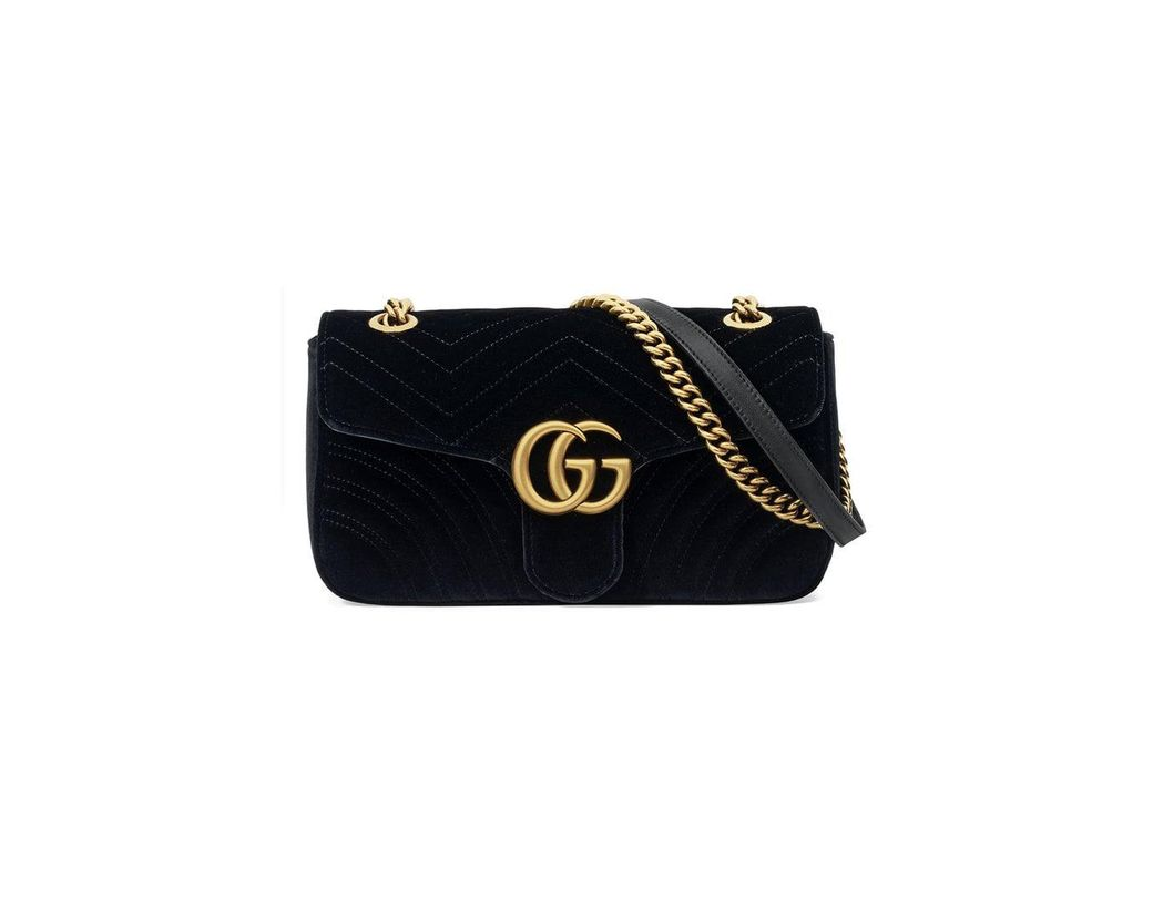 ce30b3b9710 Lyst - Gucci GG Marmont Velvet Shoulder Bag in Black - Save 27%