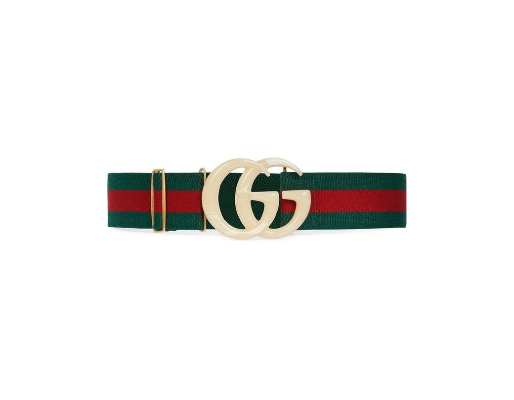 eaac90c669c Lyst - Gucci Web Elastic Belt With Embellished GG in Green - Save 43%