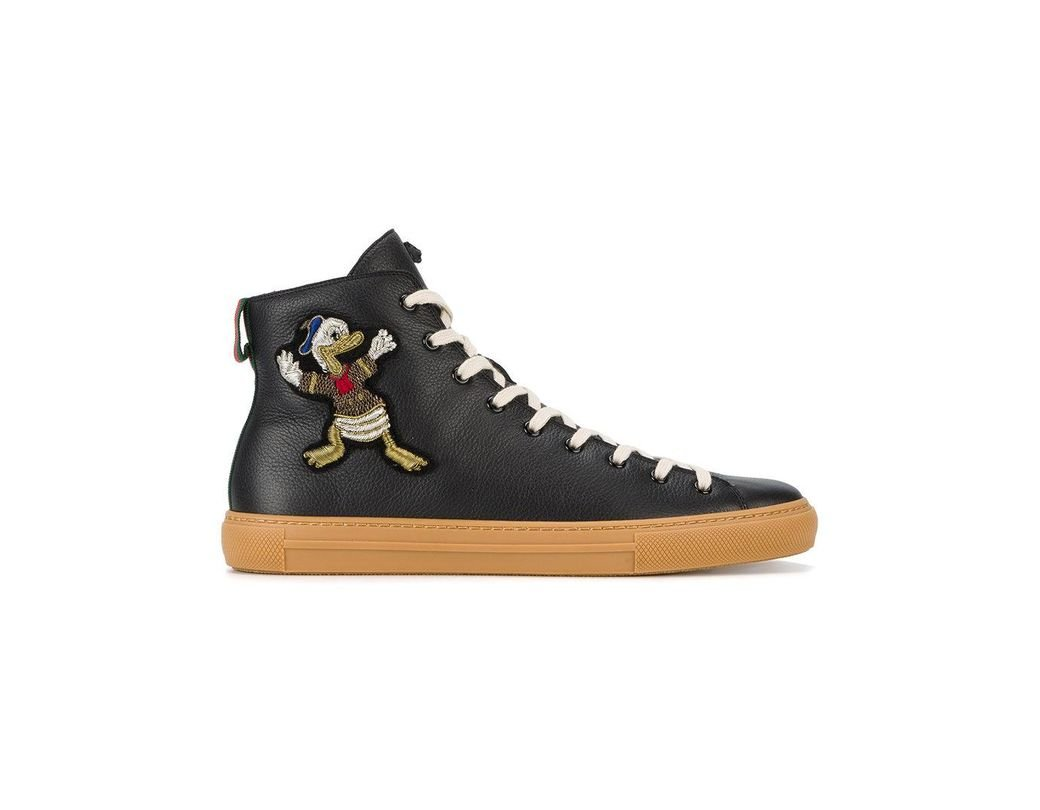 68ff81044b2 Lyst - Gucci Donald Duck Hi-top Sneakers in Black for Men
