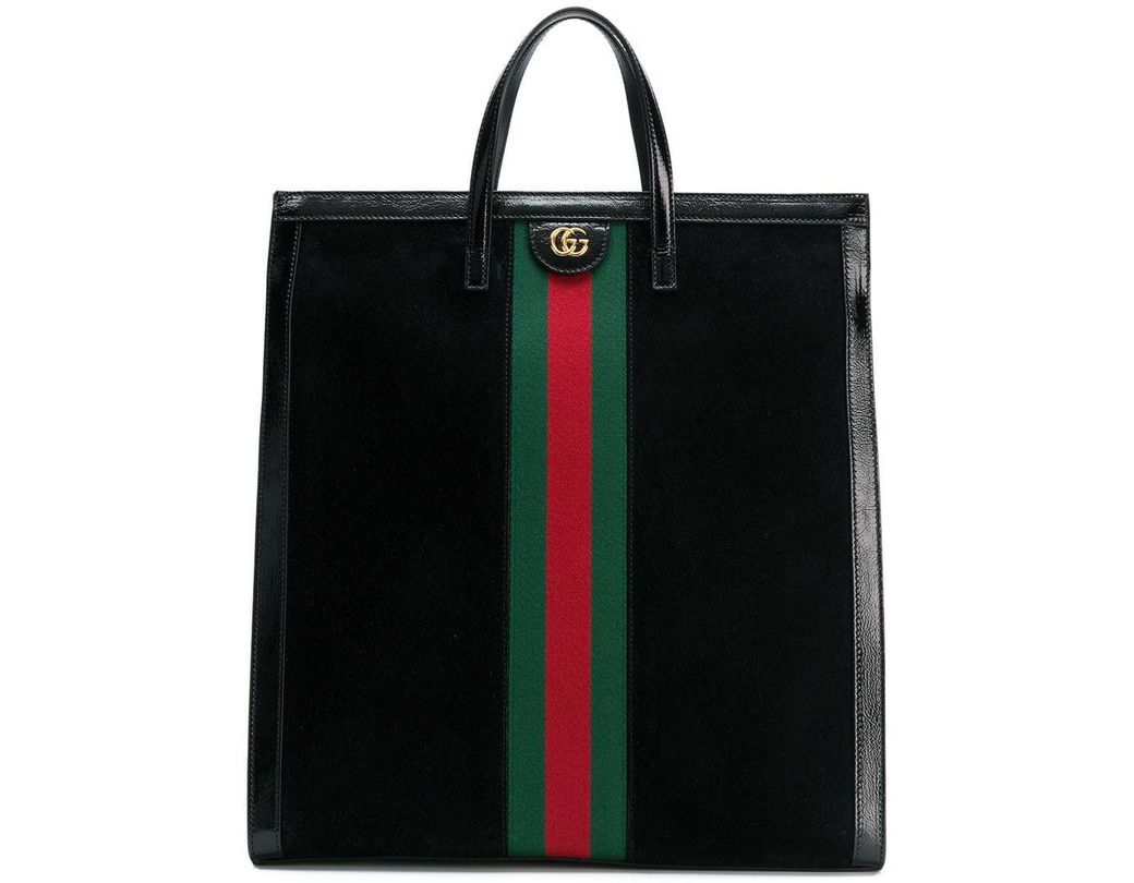 0ec412ef1bb8 Lyst - Gucci Ophidia Web Logo Tote Bag in Black