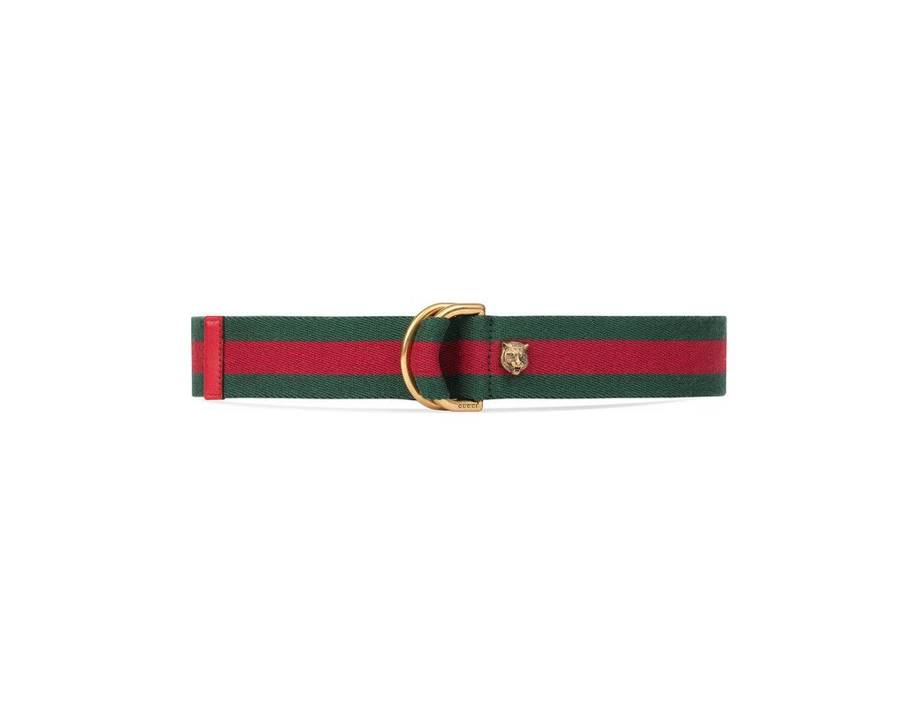 368d2363dc0 Gucci Web Belt With D-ring in Red - Lyst