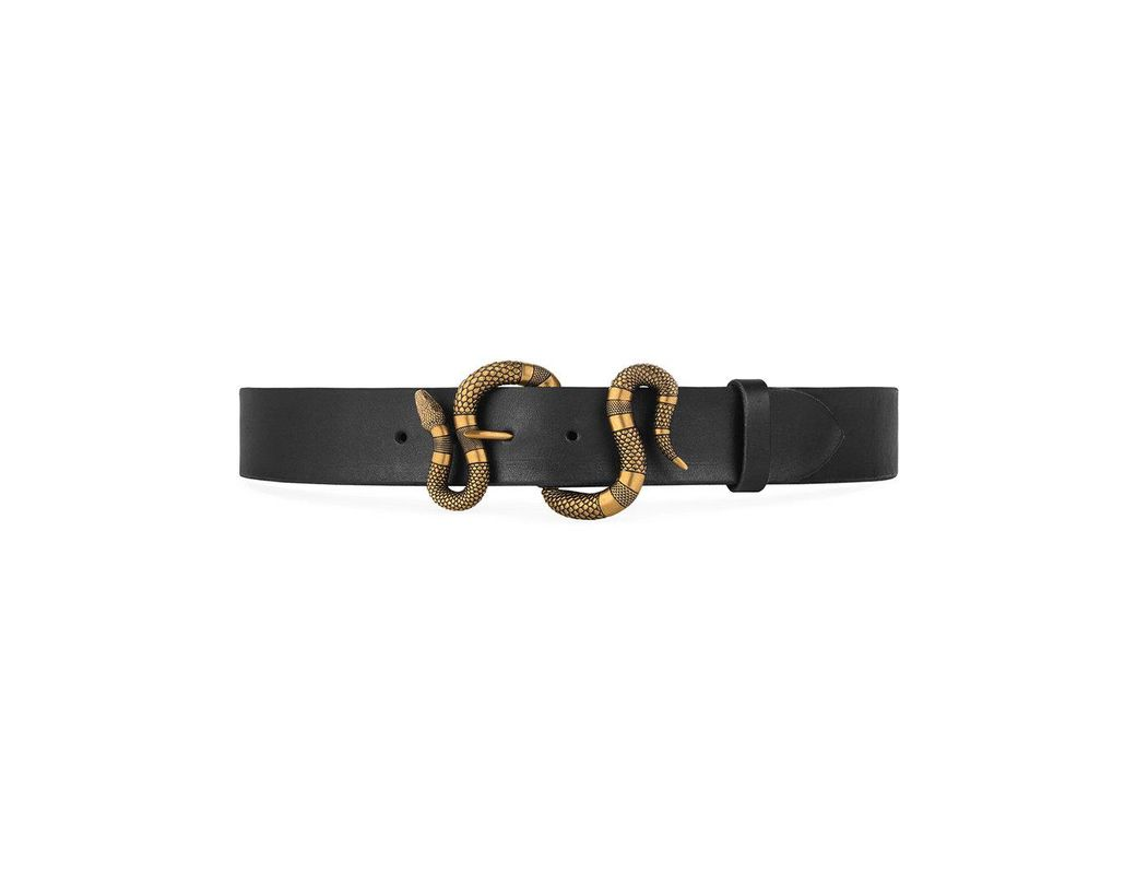 ff6b5374460 Gucci Leather Belt With Snake Buckle in Black for Men - Save 7% - Lyst
