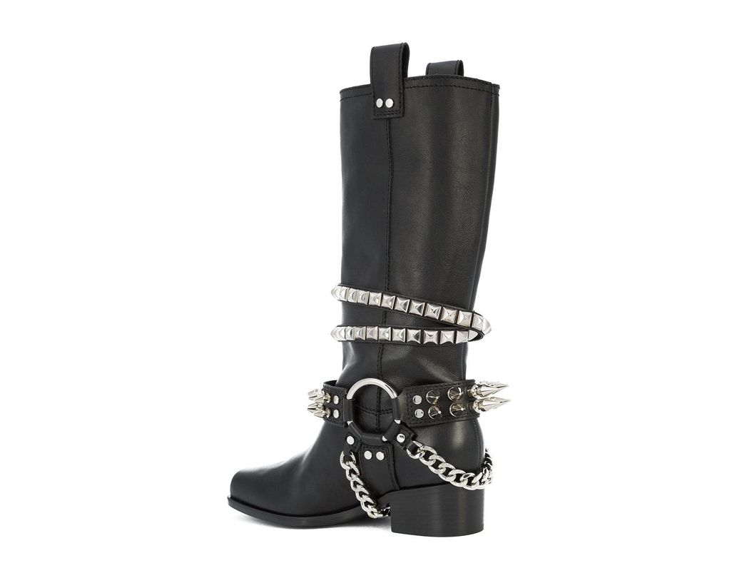 25849dd21f Moschino Studded Biker Boots in Black - Save 80% - Lyst