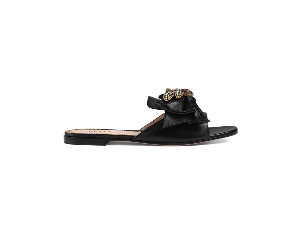 383014a50ea Gucci Leather Slides With Bow in Black - Lyst