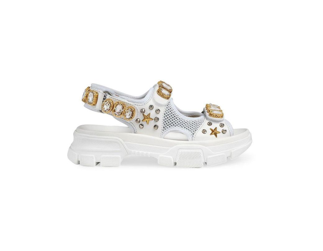 8c1cbf3f1e2 Lyst - Gucci Leather And Mesh Sandal With Crystals in White