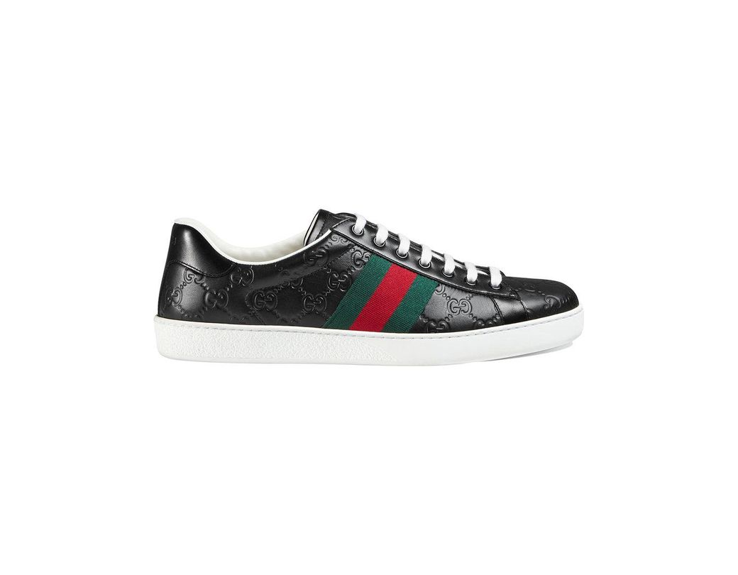 6b34b42fc76 Lyst - Gucci Ace Signature Low-top Sneaker in Black for Men - Save 22%