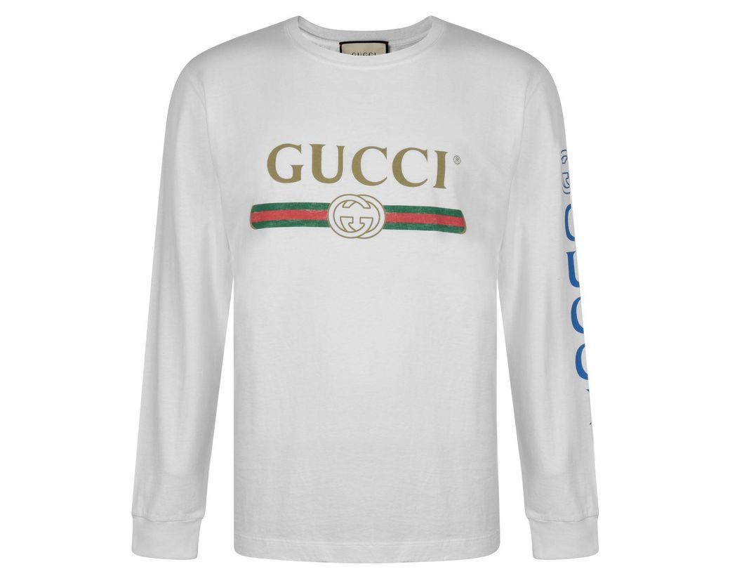 02fda815420 Lyst - Gucci Fake Logo Long Sleeved T Shirt in White for Men - Save 29%
