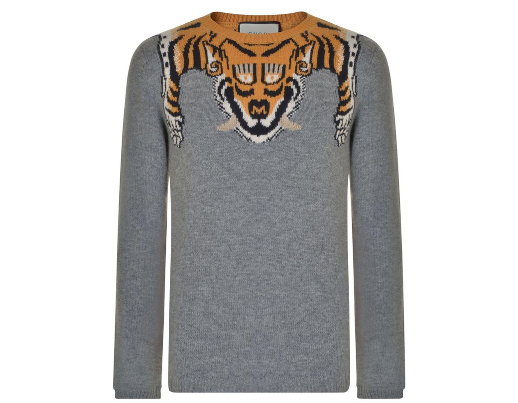 77a72d4797f Gucci Tiger Detail Wool Sweatshirt in Gray for Men - Lyst