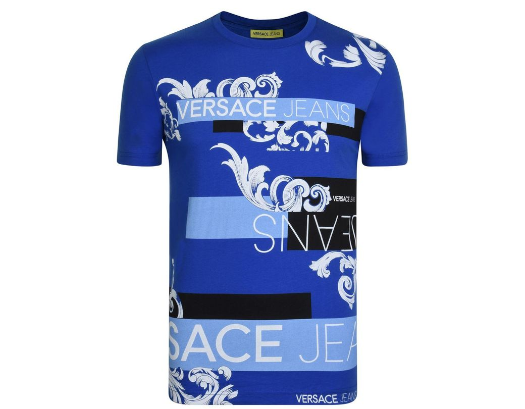 ec6d81a0 Versace Jeans Baroque Print T Shirt in Blue for Men - Lyst