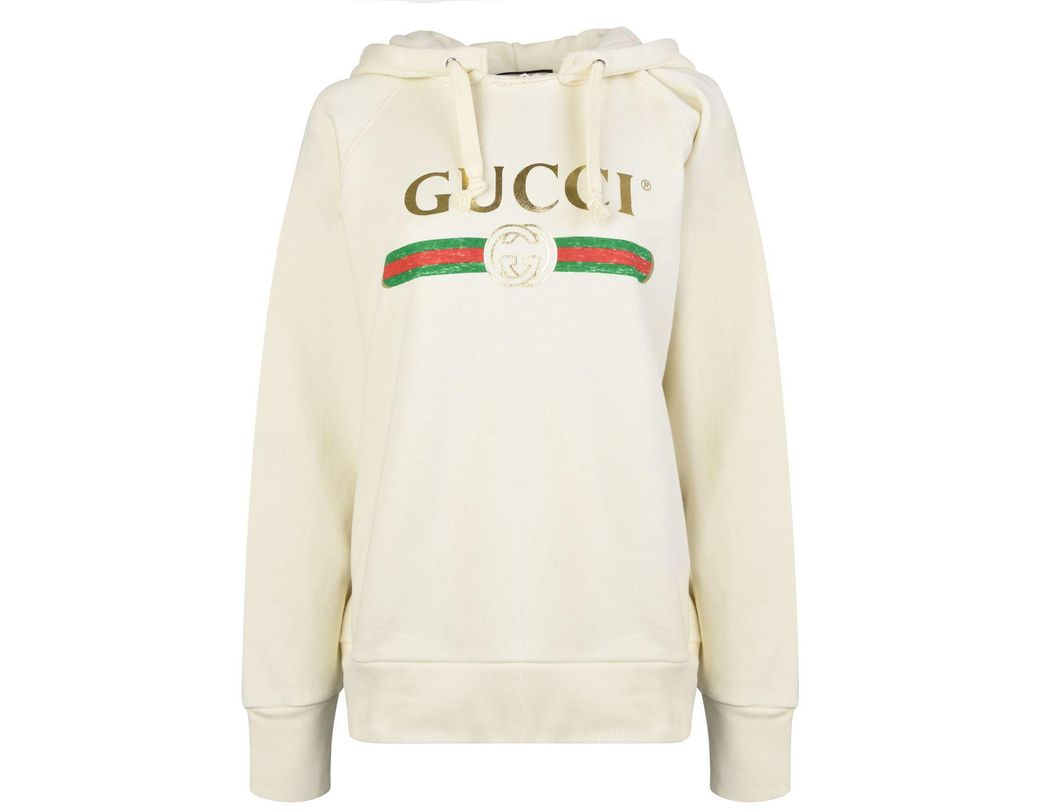 497ba30aea0 Lyst - Gucci Embroidered Fake Logo Hooded Sweatshirt in White