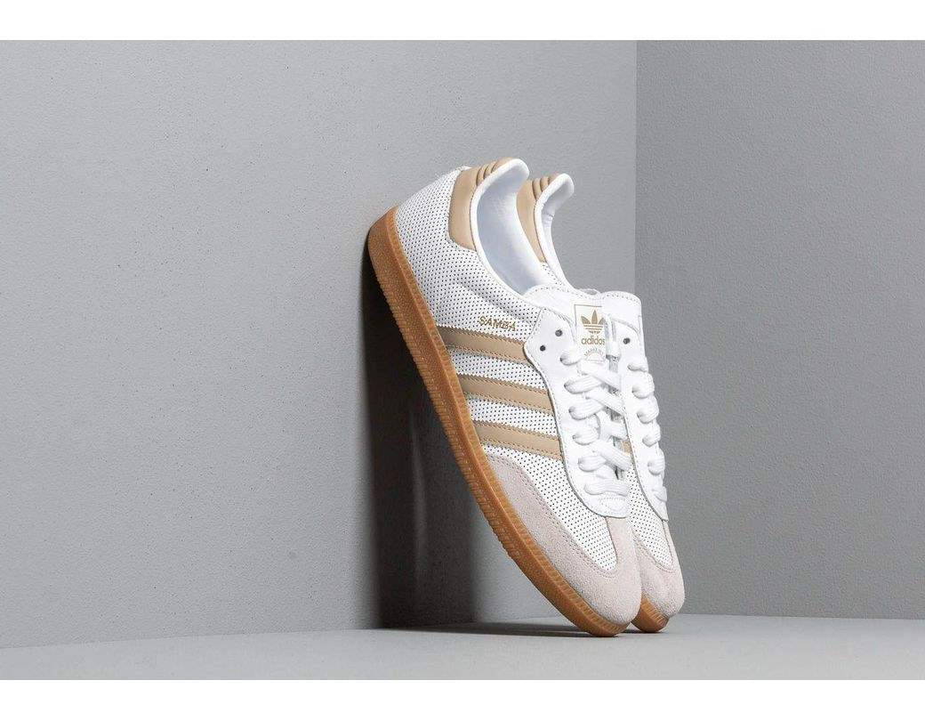 54d56008c Lyst - adidas Originals Adidas Samba Og Ftw White  Raw Gold  Grey ...